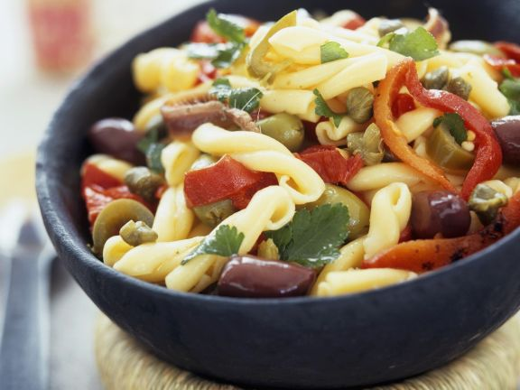 Pasta Salad with Olives, Anchovies and Capers