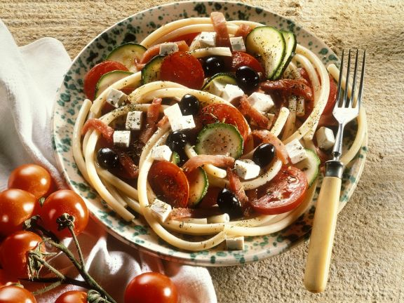 Pasta Salad with Olives, Feta Cheese and Tomatoes