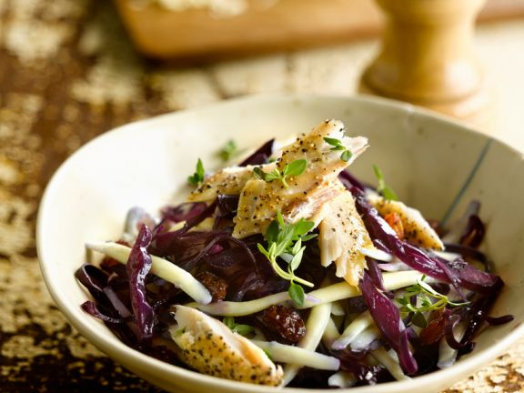 Pasta Salad with Red Cabbage and Smoked Fish