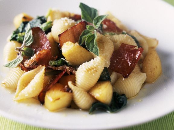 Pasta Shapes with Herbs and Prosciutto
