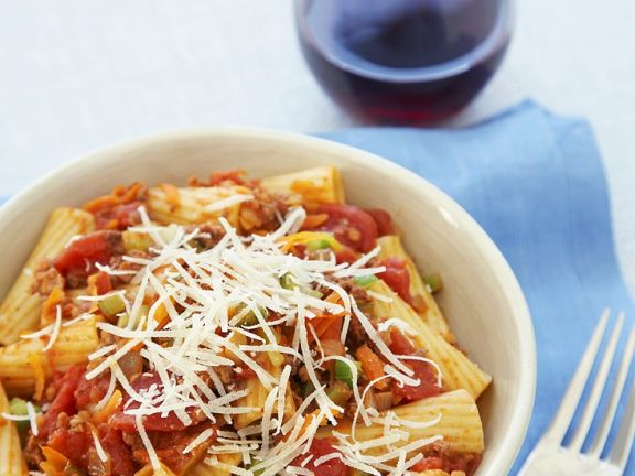 Pasta with Ground Meat and Tomato Sauce