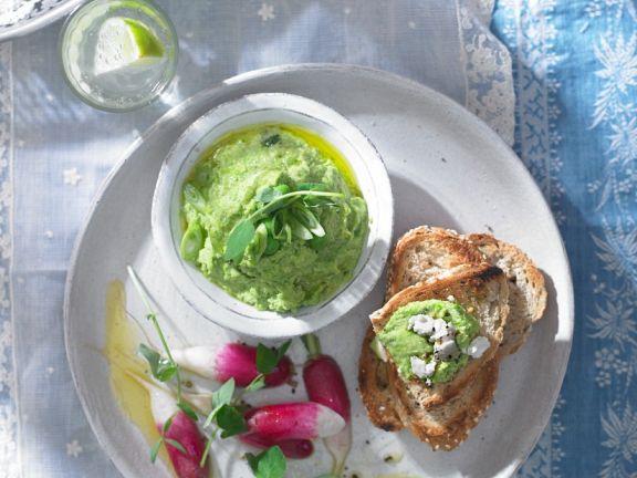 Pea Spread and Radish Salad