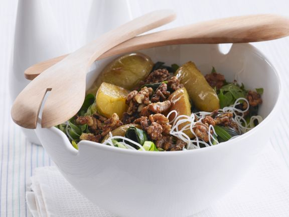 Pear and Leek Salad with Glazed Walnuts and Rice Noodles