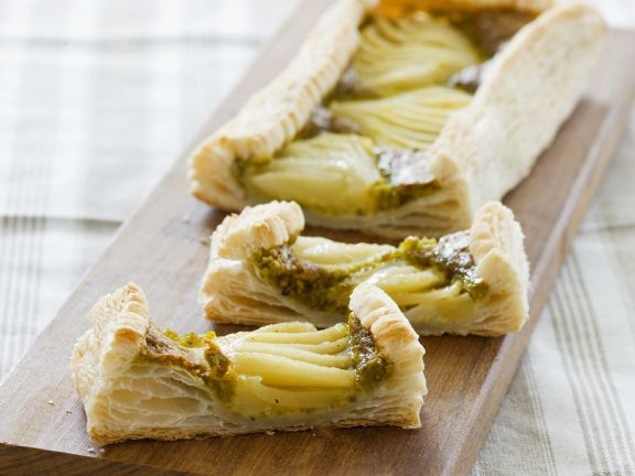 Pear and Pistachio Puff Pastry Tart