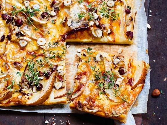 Pear Tart with Blue Cheese, Hazelnuts and Thyme