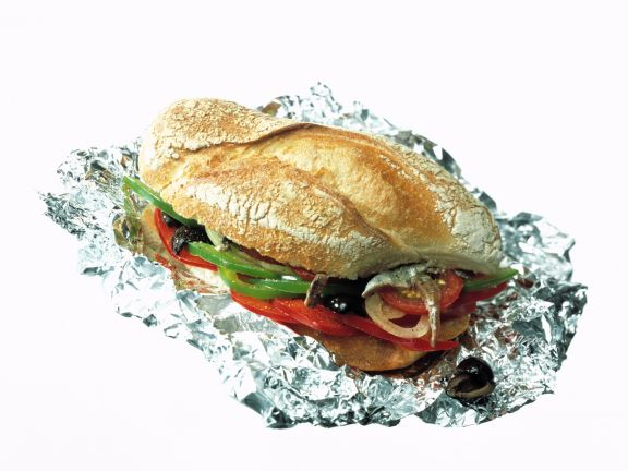 Pepper and Anchovy Baguette Sandwich
