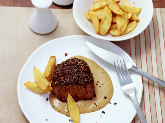 Peppercorn Crusted Steaks with Cognac Cream Sauce