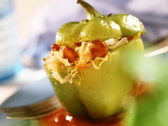 Peppers Stuffed with Sausage and Sauerkraut