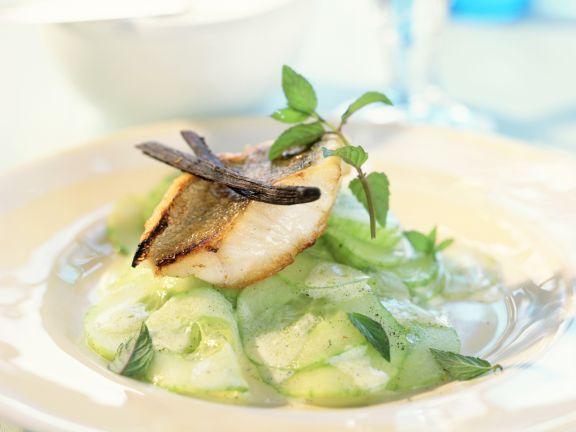 Perch Fillets with Citrus-Vanilla Cucumber Salad