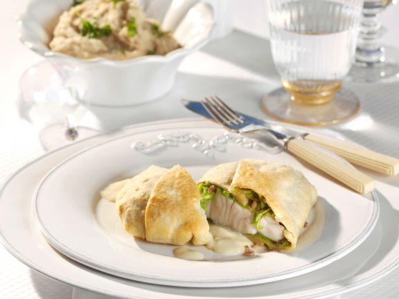 Perch Strudel with Chestnuts and Cabbage