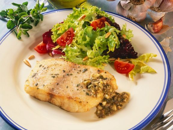 Perch with Garlic Sauce and Salad