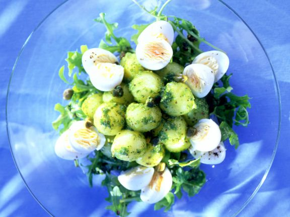 Pesto Potato Salad with Quail Eggs