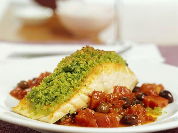 Pesto Salmon with Tomato Olive Sugo