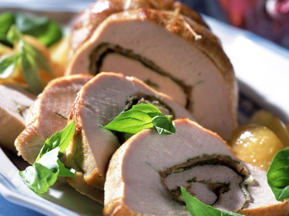 Pesto Stuffed Turkey Roll with Potatoes and Salad
