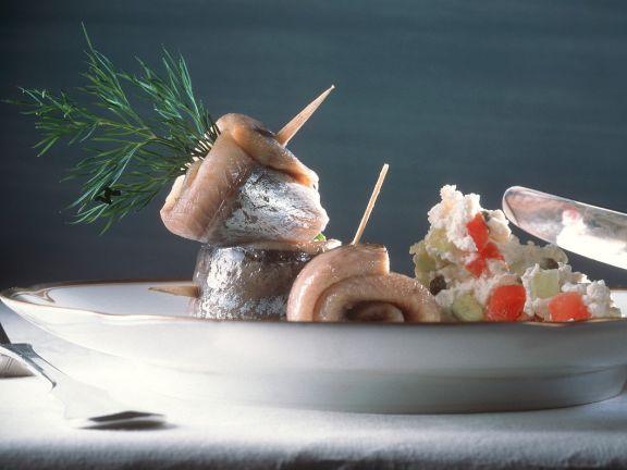 Pickled Herring Rolls with Yogurt Dressing