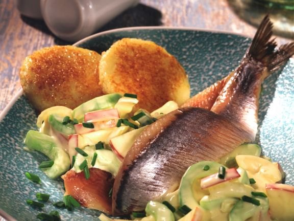 Pickled Herring with Cucumber and Potato Salad