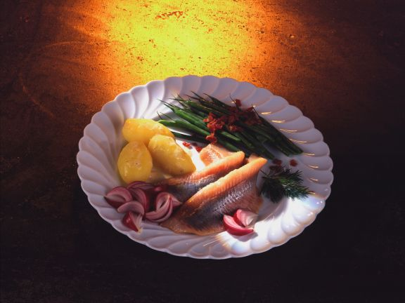 Pickled Herring with Potatoes, Green Beans and Bacon