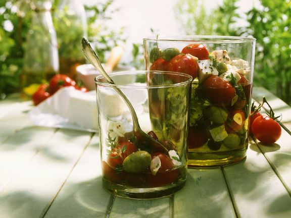 Pickled Tomatoes with Feta Cheese and Olives