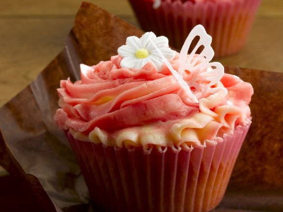 Pink and White Cupcakes with Jam Centres