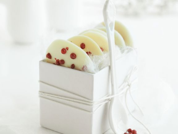 Pink Peppercorn White Chocolate Medallions