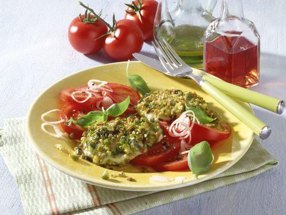 Pistachio and Thyme Mozzarella with Tomato Salad