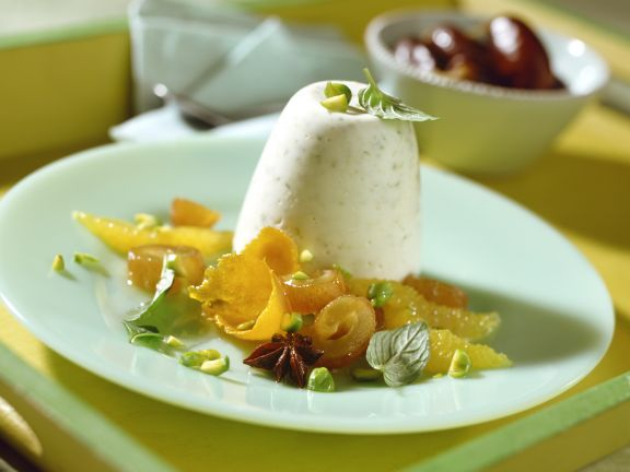 Pistachio Pudding with Oranges and Marinated Dates