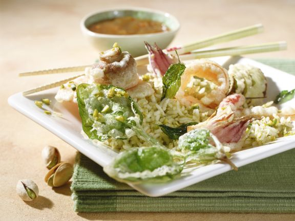 Pistachio Rice with Crispy Tempura Vegetables