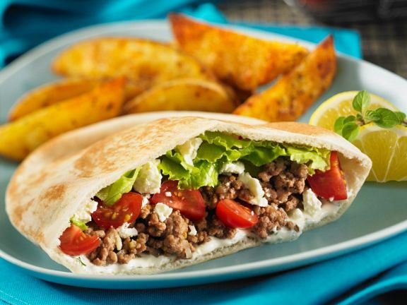 Pitas Stuffed with Ground Meat and Feta