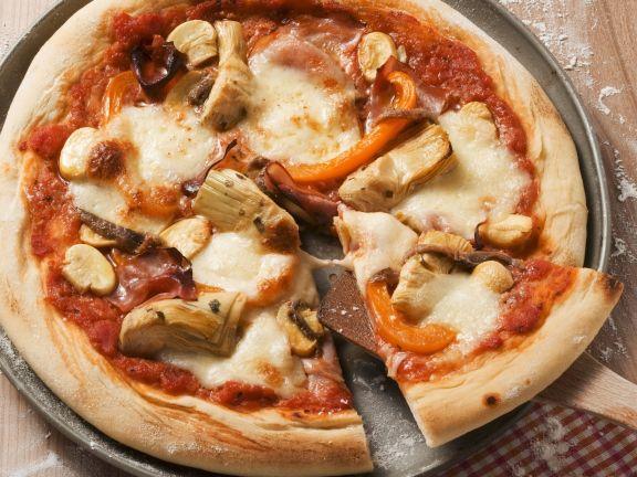 Pizza with Artichokes and Ham