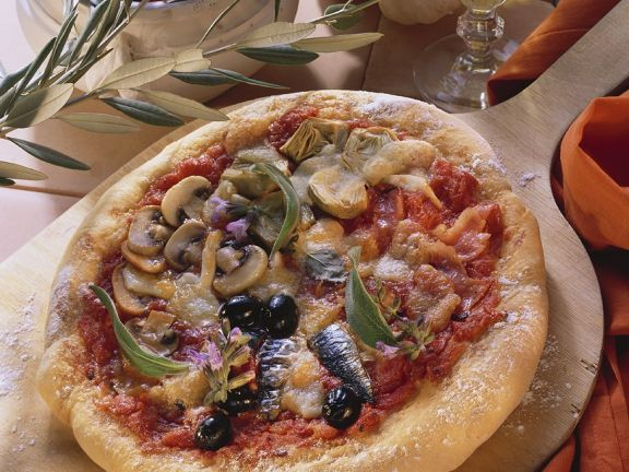 Pizza with Artichokes, Ham and Anchovies
