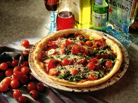 Pizza with Arugula and Bresaola