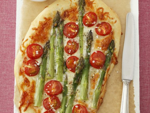 Pizza with Asparagus and Cherry Tomatoes