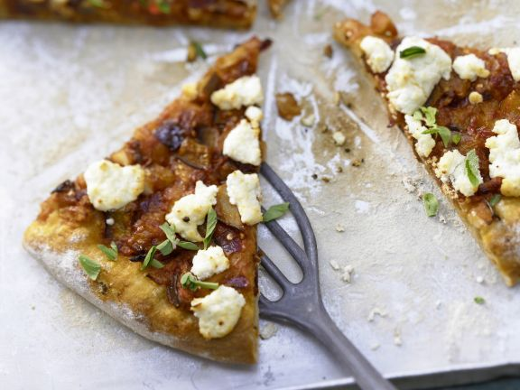 Pizza with Spicy Eggplant & Goat Cheese