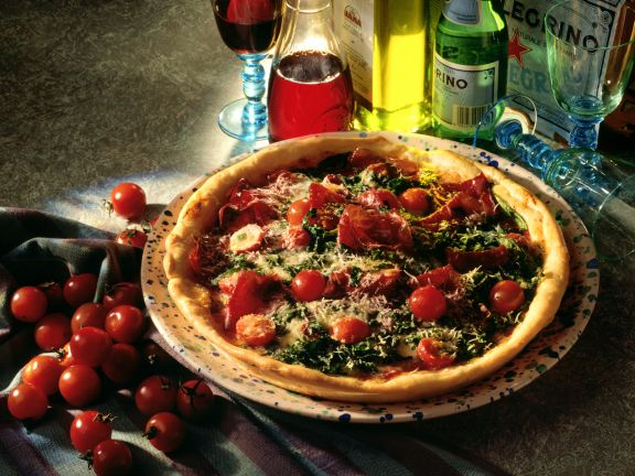 Pizza with Spinach and Bresaola