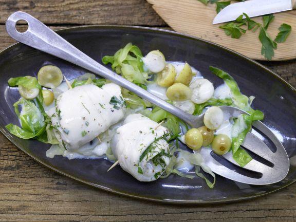 Plaice Rolls on Cabbage