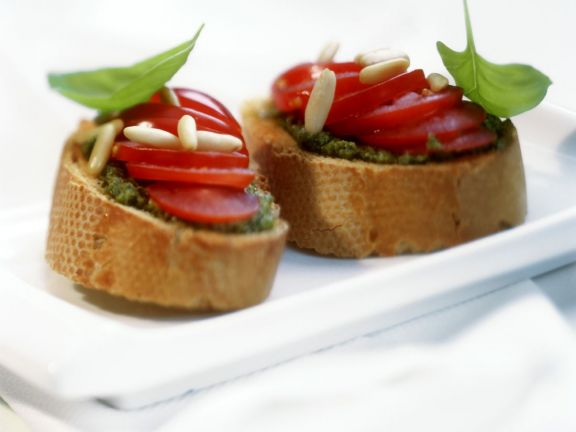 Plum Tomato and Basil Baguettes