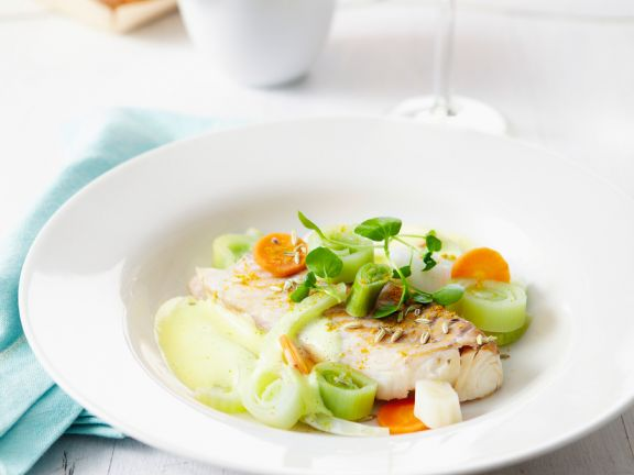 Poached Cod with Vegetables