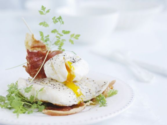 Poached Egg and Ham over Cod