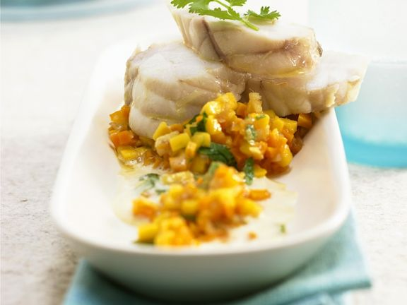 Poached Monkfish with Mango
