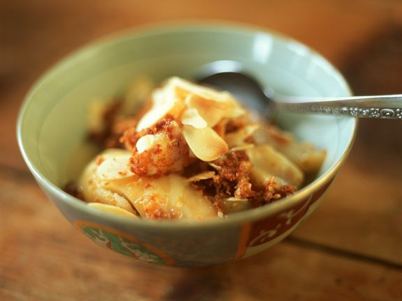 Poached Pears with Honey-Almond Crumble