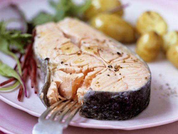 Poached Salmon Steak