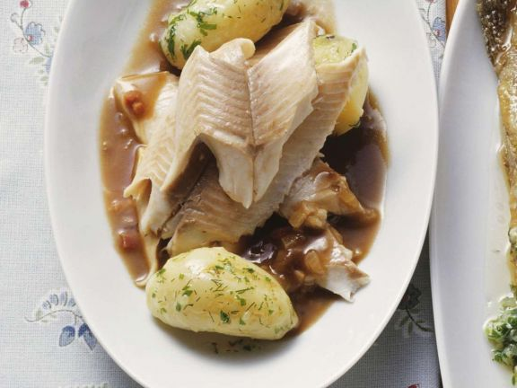 Poached Trout with Beer Sauce