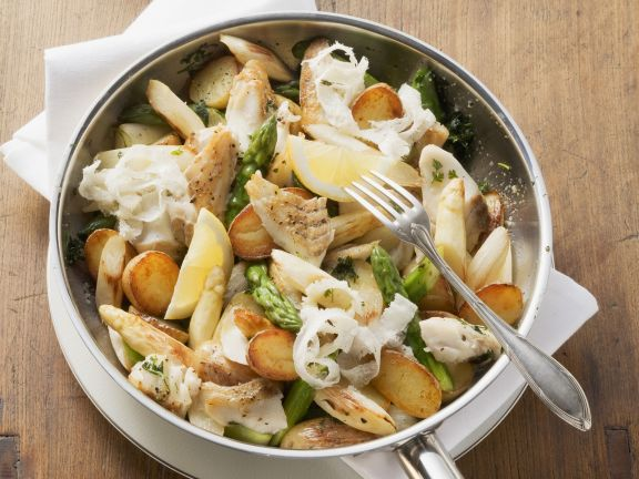 Pollock with Asparagus and Potatoes