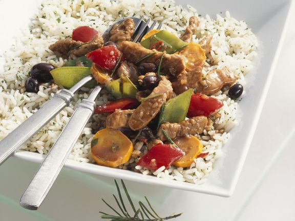 Pork and Vegetable Stir-Fry with Herbed Rice
