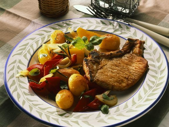 Pork Chop with Onion and Peppers