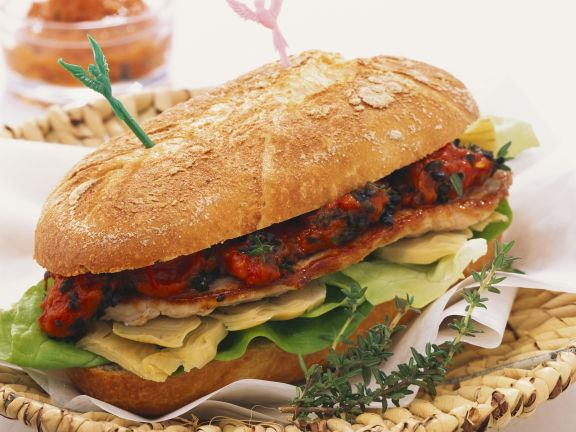 Pork Cutlet Sandwiches with Artichokes and Pepper Puree