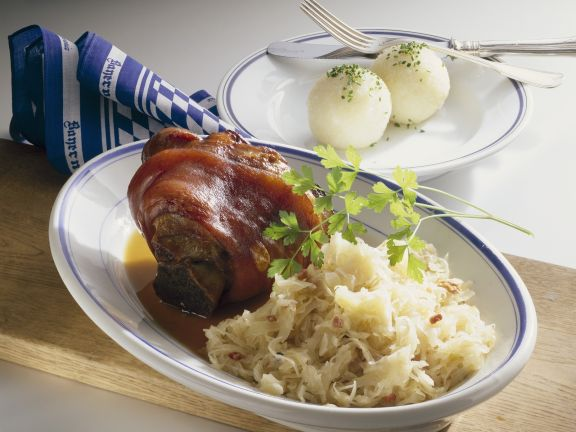 Pork Knuckles with Potato Dumplings and Sauerkraut