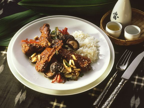 Pork Ribs with Shitake Mushrooms and Rice