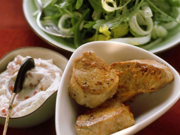 Pork with Pepper Dip and Salad