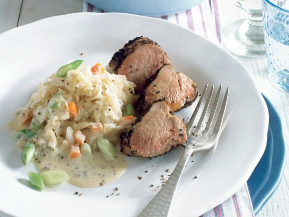Pork with Sauerkraut and Mustard-cream Sauce